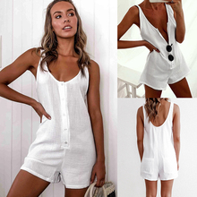 2020 Fashion Casual Solid Color Short Sleeve Button Women Playsuit Sexy Women Romper  Sexy Women Playsuit sexy square neck solid color button embellished sleeveless romper for women