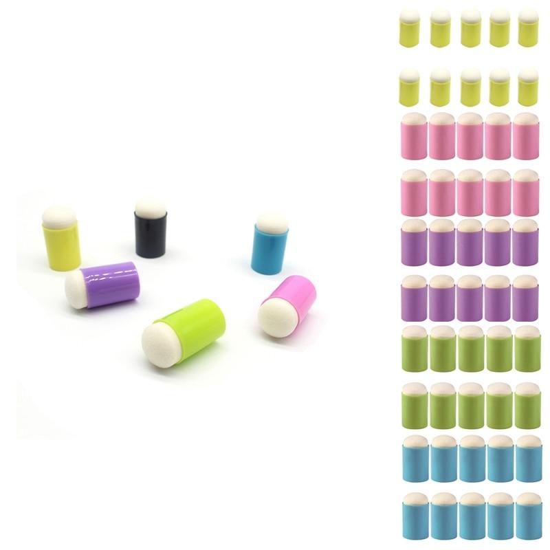 10Pcs Finger Sponge Daubers Painting Ink Pad Stamping Brush Craft Case Art Tool with Box Scrapbooking DIY Crafts