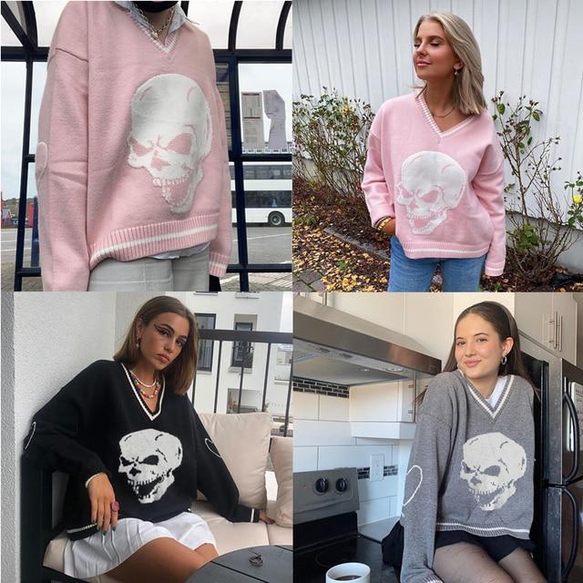 V Neck Sweater with Skull print