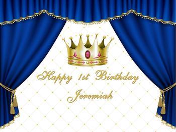 birthday background blue curtain children gold crown backdrop baby shower banner dessert table decoration background w-1009
