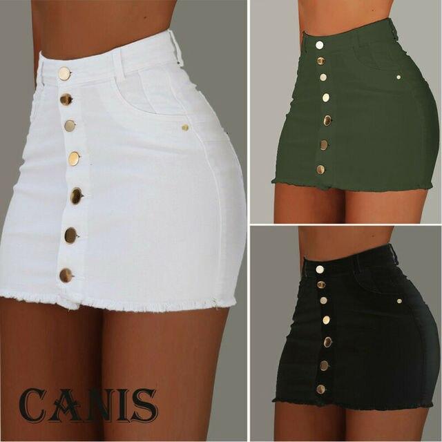 Brand New Women Stretch High Waist Solid Skirt Summer Button Denim Solid Short Mini Jeans Denim Pencil Skirts