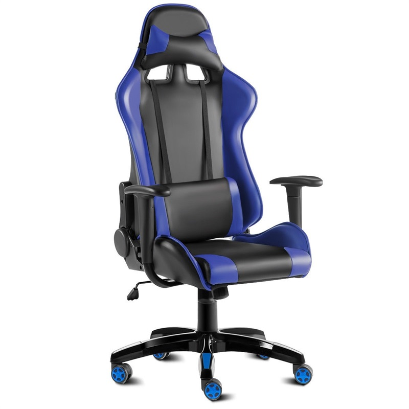 High Back Gaming Reclining Office Chair 360 Degree Swivel 5 Wheels Removable Head Rest Pillow Lumbar Cushion Game Chair HW52605