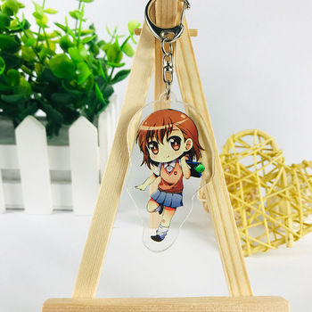 Toaru Kagaku no Railgun Keychains Anime Misaka Mikoto Character Pendants Acrylic Key Chains Collection Gift One Size Printed image