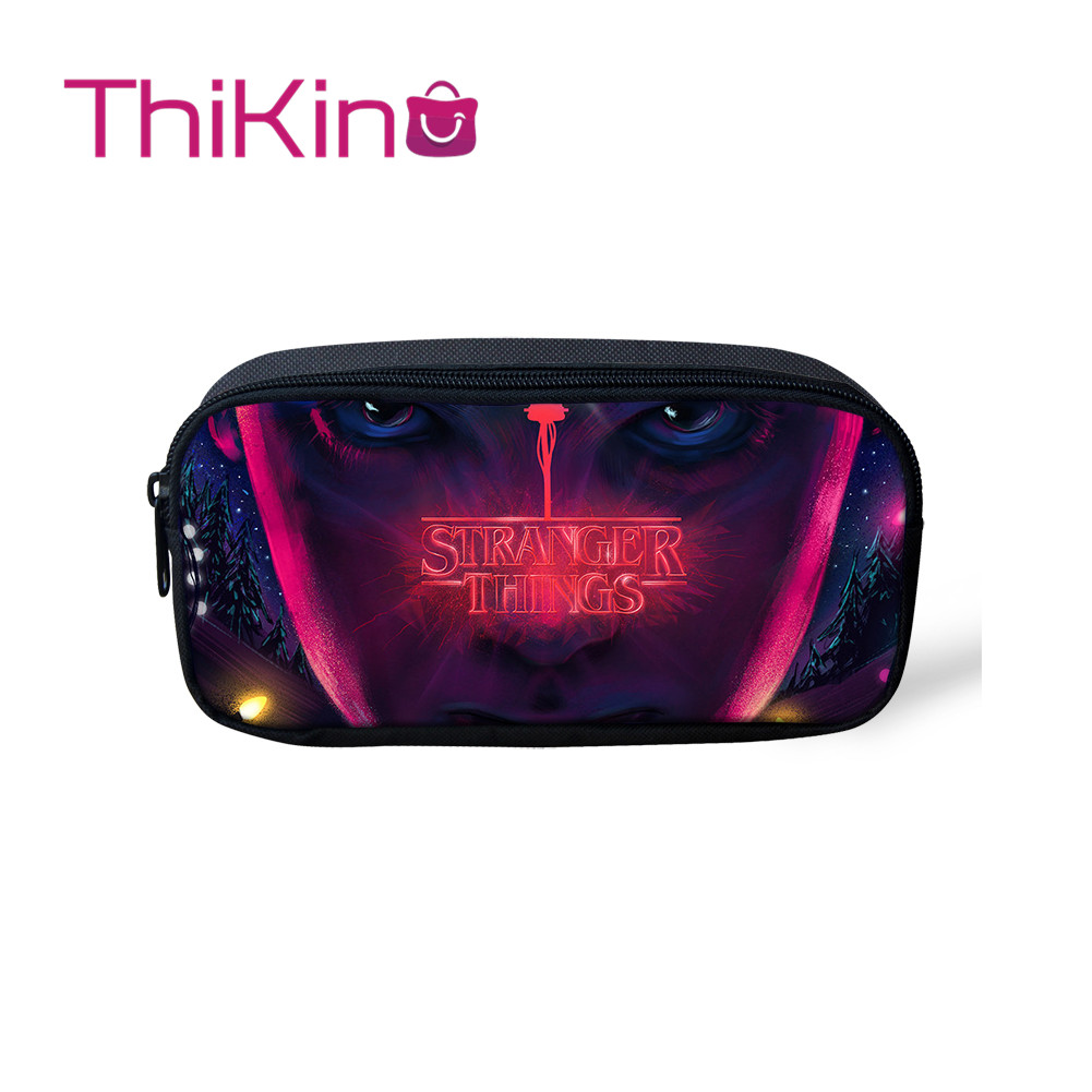 Thikin Casual Pencil Bags Pen Bag For Girls Stranger Things Pen Case For Student Makeup Storage HandBags Pen Purses For Kids