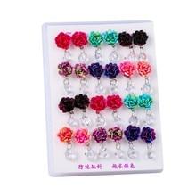 12 Pairs/set Vintage Resin Flower Stud Earrings Set For Women Kids Fashion Jewelry Transparent Geometric Pendant Earring Brincos faux ruby geometric flower jewelry set