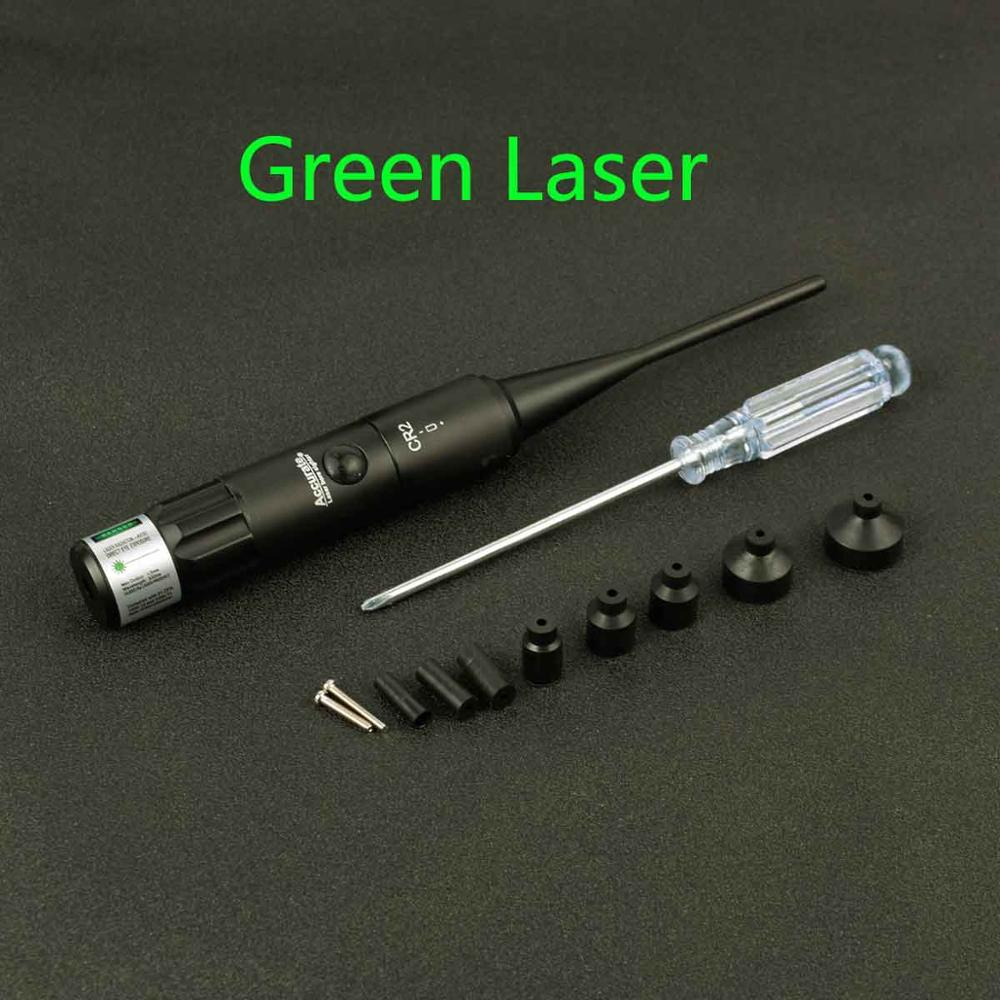 Tactical Hunting Green Red Laser Boresighter Kits Green Red Dot Bore Sight for .22 to .50 Caliber Riflescope with On Off Switch