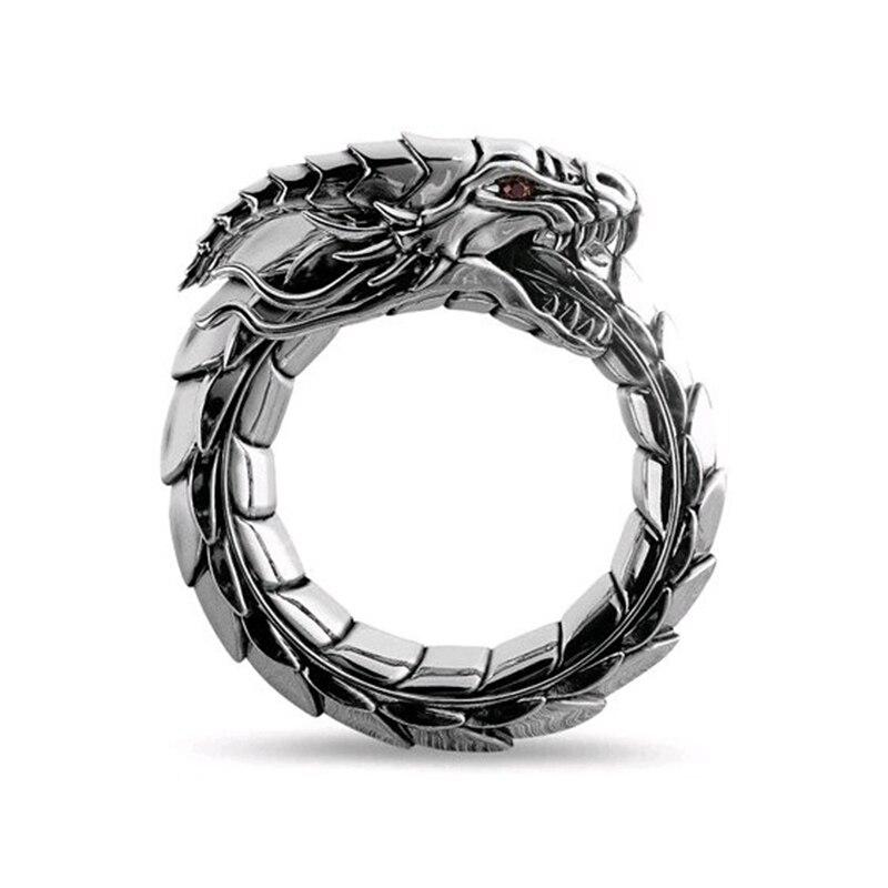 Ouroboros ring Nordic mythology Norwegian Myth Ring Dragon Finger Ring Nidhogg Ring black silver Folk Amulet serpent ring R00061(China)