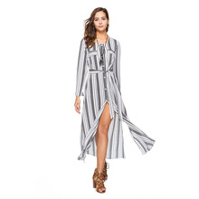 Single-breasted Long Shirt Dress Women Striped O-Neck Full Sleeve Autumn Chiffon Dress Plus Size Slim Casual Vestidos Maxi Robe