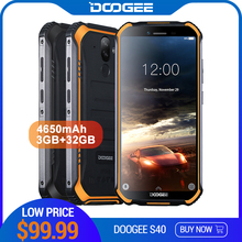 Upgrade 3GB+32GB DOOGEE S40 MTK6739 Quad Core Android 9.0 4G Network Rugged Mobile