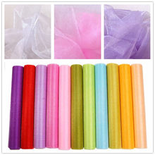 Tulle Roll 5/10m 48cm Sheer Crystal Organza Fabric for Wedding Party Decoration Organza Chair Sashes Baby Shower Wedding Decor