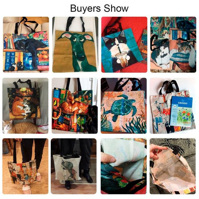 Design Cute Kawaii Cartoon Anime Cat Print Linen Tote Bag Women Fashion Handbags School Travel Shopping Shoulder Bags Reusable 4