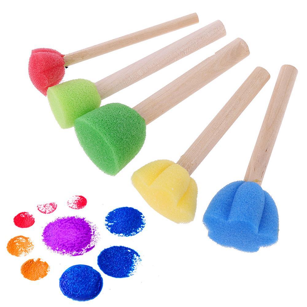 New Arrival 5Pcs Round Sponge Brush With Wood Handle Art Graffiti Painting Tool Toy Children