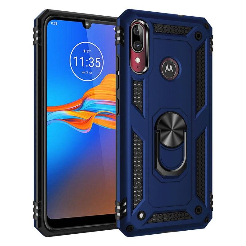 Metal Ring Car Phone Holder for Motorola Moto E6 Case Luxury Back Shell for Motorola Moto E6 Plus Cover Moto E 6 6th Gen E6s 6E