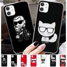 Chenel famoso artista karls escudo transparente caso de telefone para iphone 12 max mini 11 pro xs max 8 7 6s plus x 5S se 2020 xr capa