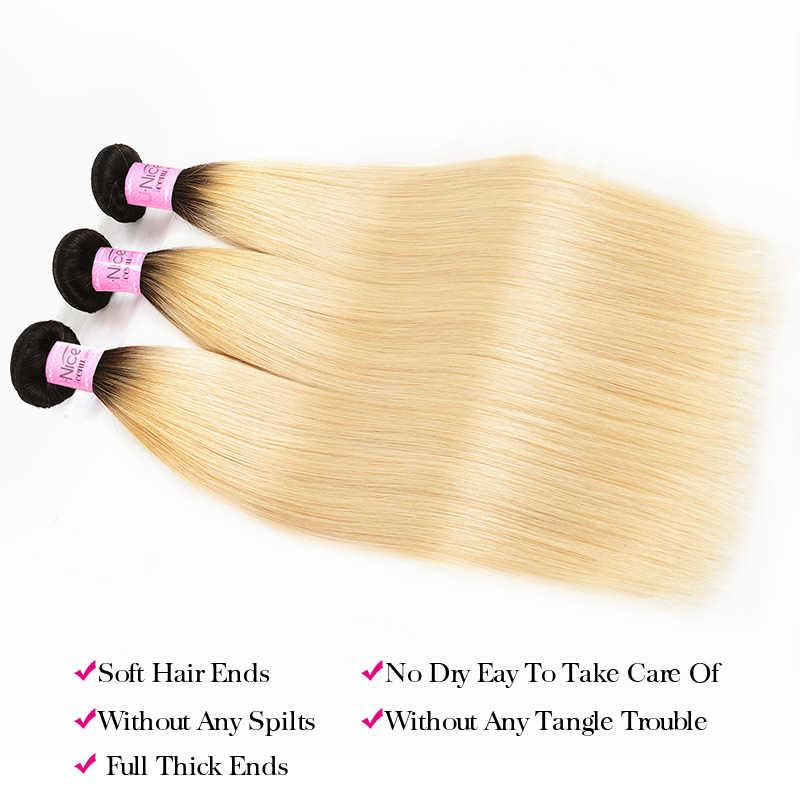 Волосы UNICE 1B/613 медовый блондин бразильские Прямые Remy человеческие волосы 3 пучка с закрытием шнурка блонд пучки волос от светлого до темного цвета с закрытием