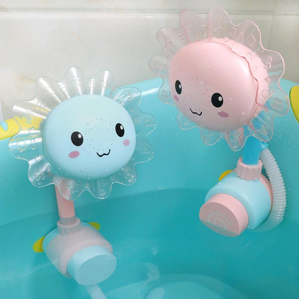 Lovely Sunflower Kids Baby Shower Faucet Spout Bathing Water Play Sprinkler Toy Rotary Shower Can Rotate In All Round.