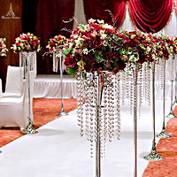 10pcs/lot Acrylic Metal Frame Flower Vase Column Wedding Trumpet Stand Lead Road Centerpieces For Wedding Party Decoration