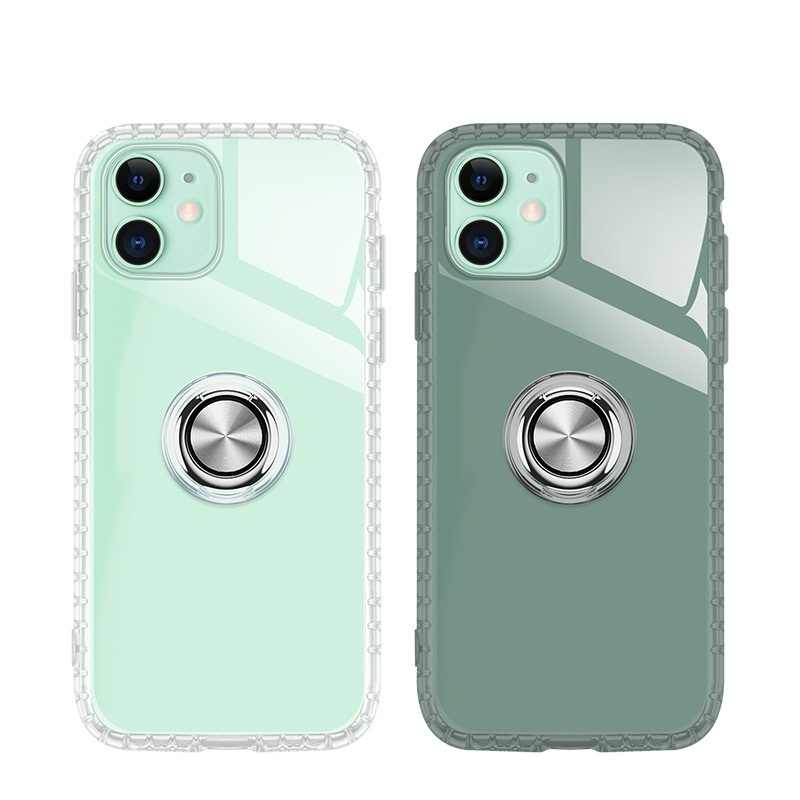 Jelas Karet TPU Soft Case untuk iPhone 11 Pro Max XS XR X 7 8 PLUS Finger Ring Ponsel cover