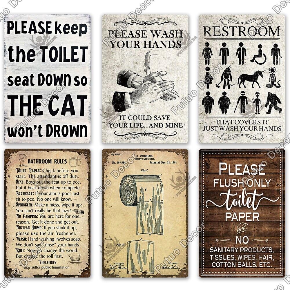 Putuo Decor Restroom Sign Vintage Bathroom Plaque Metal Tin Sign Wall Decor For Toilet Bathroom Restroom Decoration Accessories Lazada