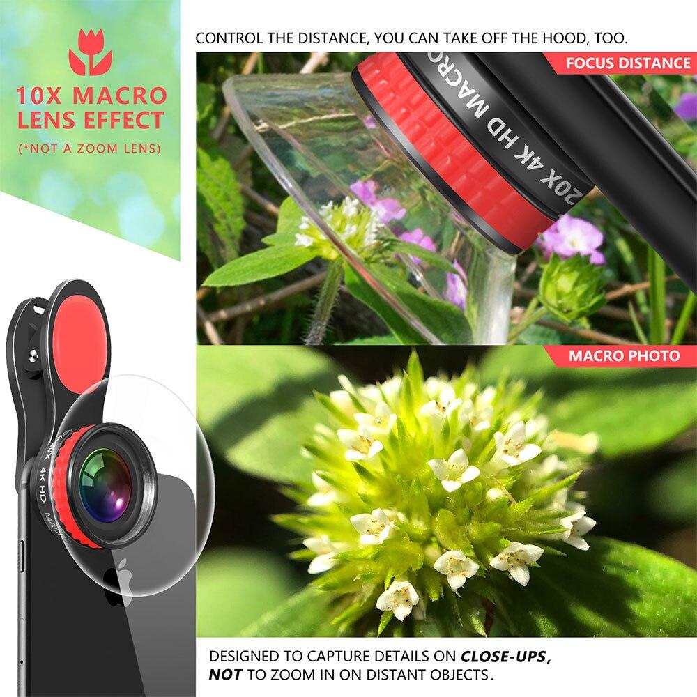 Image 4 - 20X & 10X Супер Макро объектив клип на 4K HD телефон объектив камеры для смартфона iPhone samsung huawei LG Android Мобильный микро мирОбъективы для мобильных телефонов   -