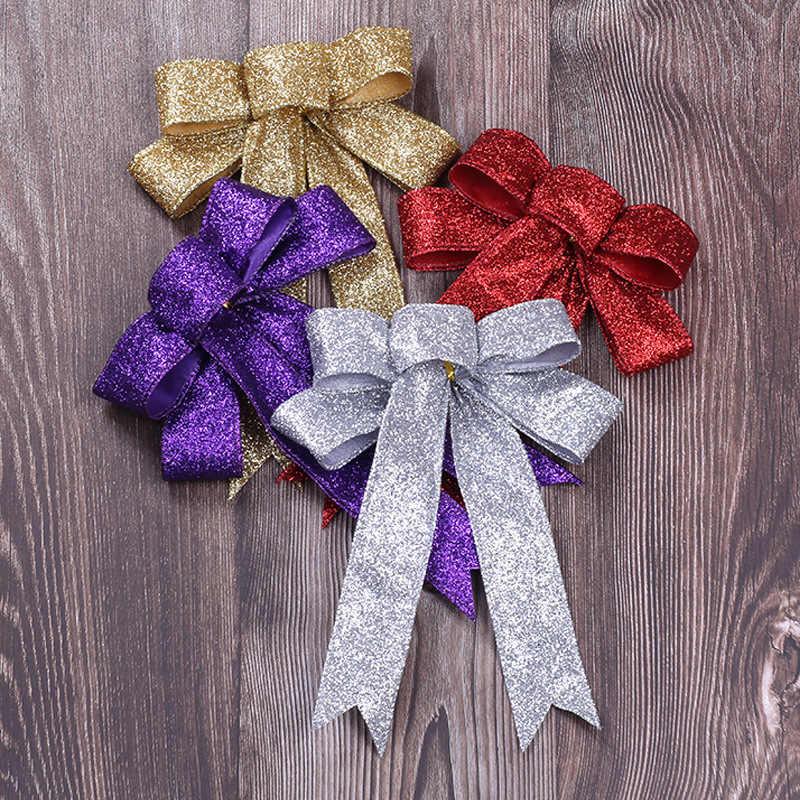 23 ซม.ขนาดใหญ่ Glitter ผ้าโบว์คริสต์มาสคริสต์มาสตกแต่งต้นไม้ Xmas เครื่องประดับสำหรับปีใหม่ Bowknots Decor