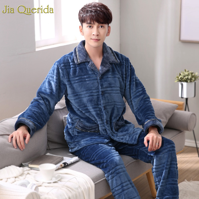 Winter New Pajamas Set For Men Navy Cardigan Button Pocket Long Sleeves Pants Soft And Warm Flannel Elastic Waist Lougewear Suit