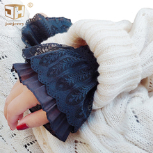 цены 2Pcs/Pair  Lace Gloves Floral Women Fake Pleated Cuffs Sweater Shirts Wrist Warmers For Ladies Girls