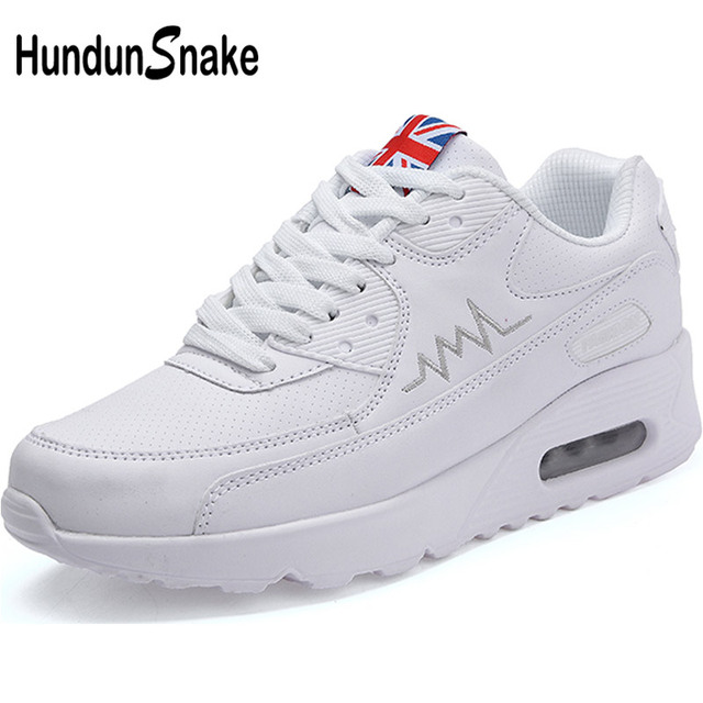 Hundunsnake Air Cushion Womens Sneakers Women Leather Running Shoes Womens White Woman Sport Shoes Female Sports Shoes Gym T14