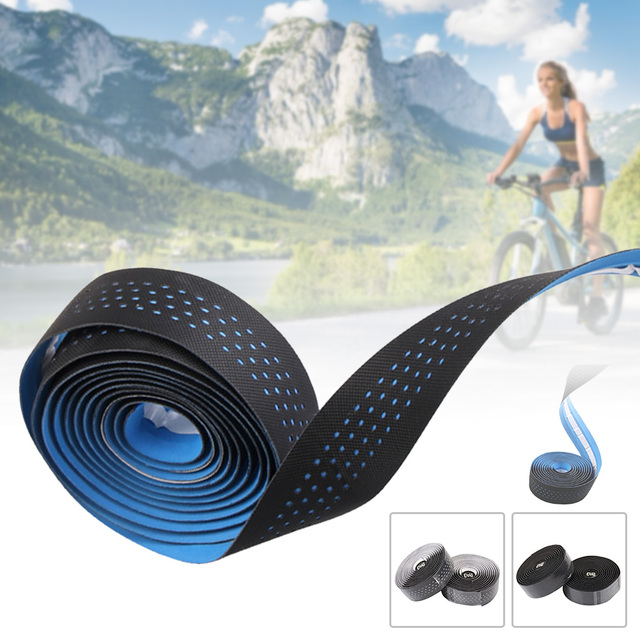 1 Pair PU Leather Breathable Grips Cork Belt Bandage Handle Bicycle Non-Slip Wrap Road Bike Cycling Bar Tape Absorb Sweat 2