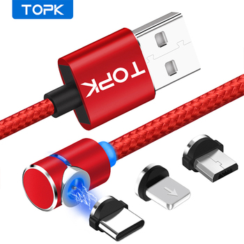 Kabel magnetyczny typu TOPK 90 stopni L kabel ładowarki magnetycznej LED do iphone #8217 a Xs Max X 8 7 5 i kabel Micro USB i USB type-c USB C tanie i dobre opinie 2 4A NYLON USB A TOPK L Shape Magnetic Cable Black Red Gold Sliver Micro Type-C Prot For 8-Pin 1M (3 9ft) 2M(6 56ft)