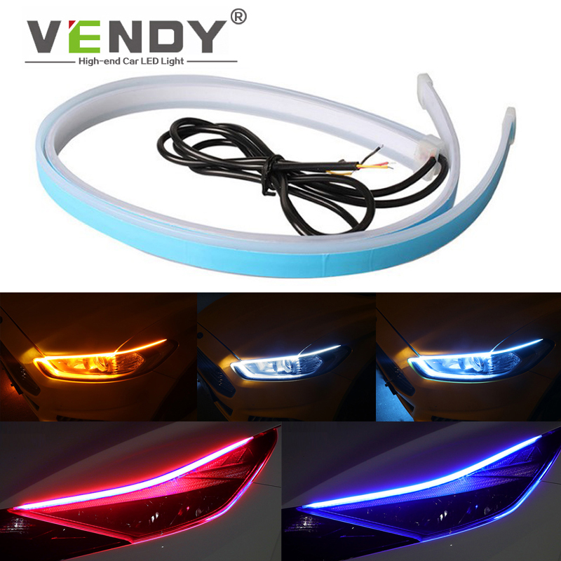 2pcs Car LED Light Strip Dual mode Turn Signal Light+Daytime Running Light DRL Auto Bulb Headlights Day light 12V Flowing Lamp