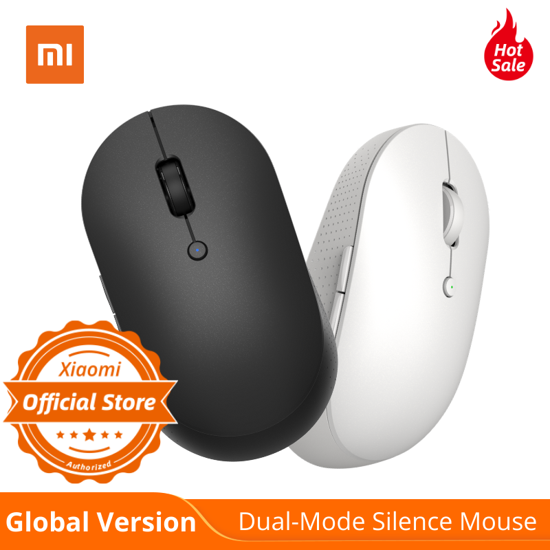 Global Version Mi Wireless Dual-Mode Mouse Silence White & Black Bluetooth / USB Receiver Connection Side Buttons With Battary