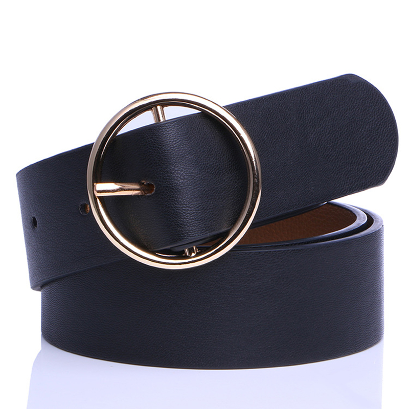 Badinka 2019 New Women's Black White Yellow Silver Brown Wide PU Leather Belt Jeans Female Gold Round Buckle Belts For Women