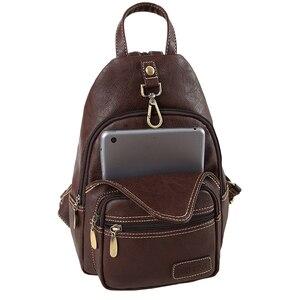 Image 5 - Sac à dos Vintage multifonction en cuir artificiel souple pour femmes, Mini sac à bandoulière, petit sac de poitrine pour les voyages quotidiens