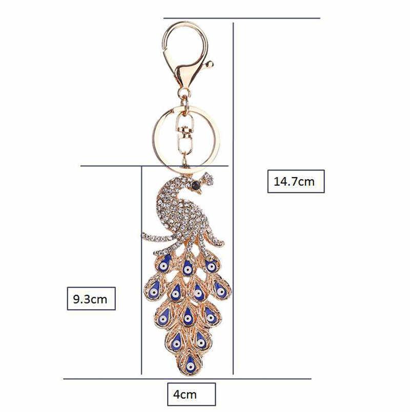 NOVA Cor Dourada 3D Colorido Cadeia de Cristal Pavão Diamante Keychain Charme Pingente Carro Chaveiro Chave Anel
