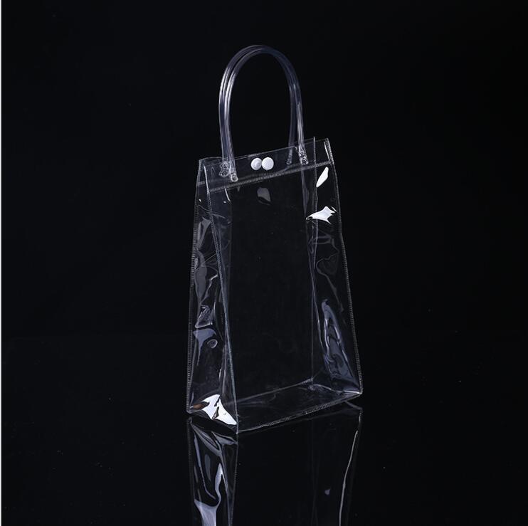15 pièces sac en plastique PVC Transparent sac à provisions Portable sac cosmétique cadeau promotionnel