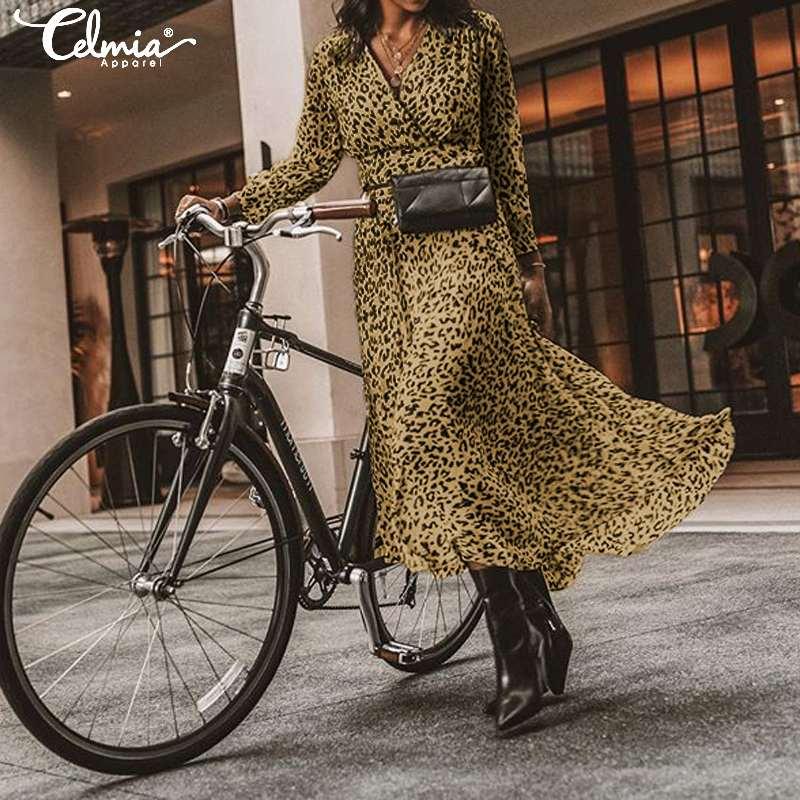 Bohemian Leopard Print Dress For Women Celmia 2020 Fashion Sexy V Neck Long Sleeve High Waist Long Maxi Dress Casual Loose Robe