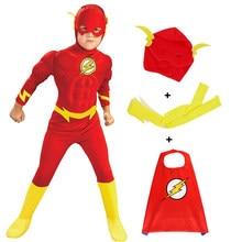 Costume d'halloween pour enfants, chapeau, ceinture, Flash musculaire, Costume de Cosplay, Barry Allen Zentai, body, ensemble pour enfants, combinaisons