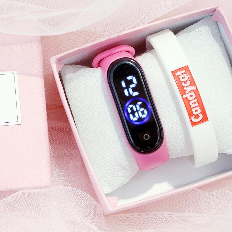 Women Watches Bracelet Gift Box Set Pink Minimalist Sport Digital Wristwatch Teen Girl Waterproof Silicone LED Kid Watch Relogio