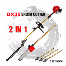 GX35 Long Reach Pole Chainsaw Hedge Trimmer Brush Cutter Whipper Snipper Pruner Line Tree with 3 extend pole
