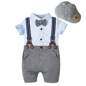Baby Clothes Newborn Boys Romper Suit Plaid Cup + Sky Blue Romper + Shorts + Belt Cotton New Born Summer Boy Clothing KB8067