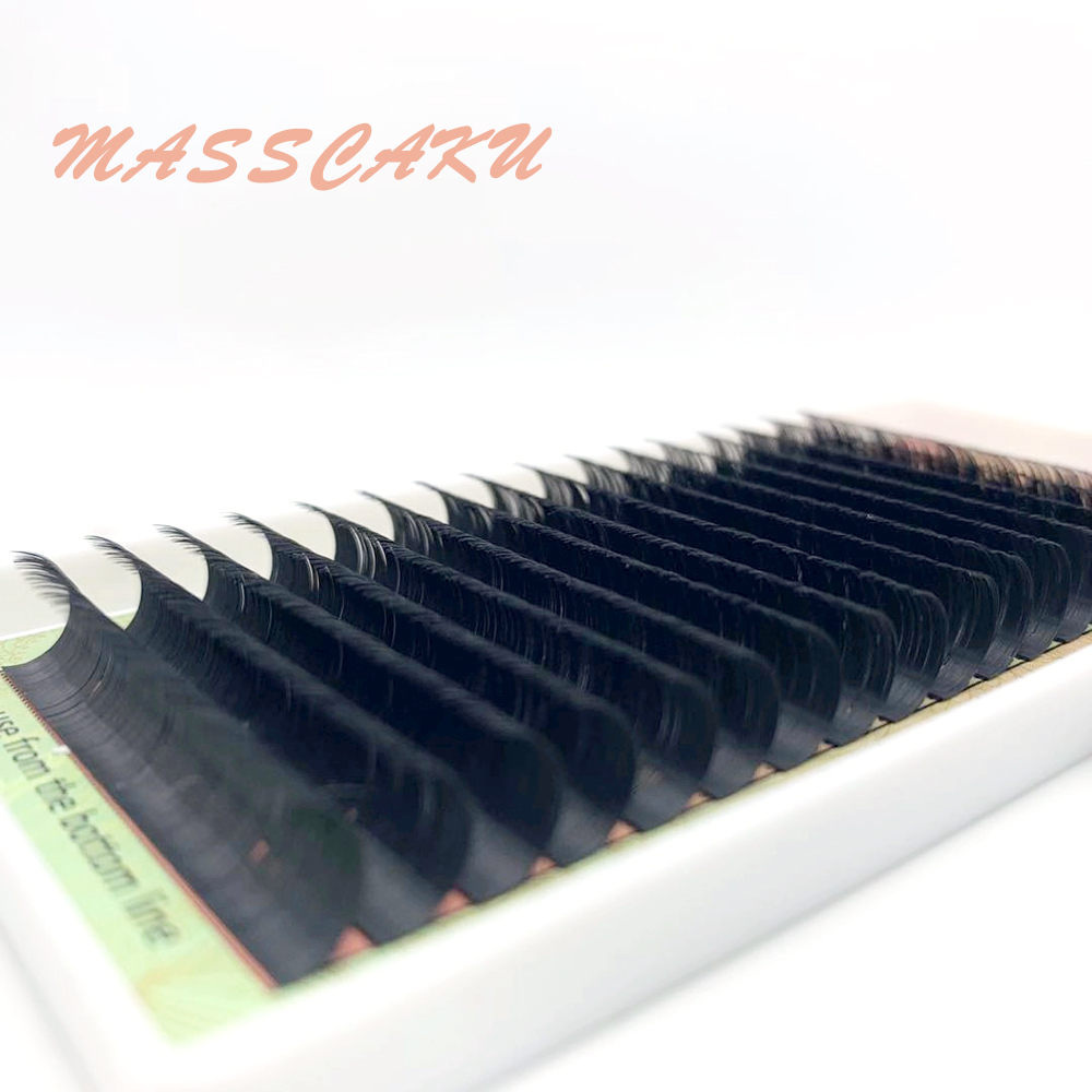 MASSCAKU 16 Rows Cilia Natural Individual High-quality Eyelash Extensions Make Up Tools Faux Premium Mink False Eyelash Supplies