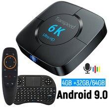 유튜브 안드로이드 9.0 와이파이 블루투스 TV 박스 6K 구글 어시스턴트 3D 비디오 TV 수신기 4G 64 G TV 박스 빠른 셋톱 박스