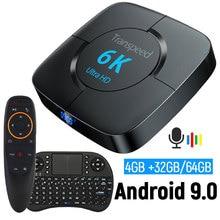 Youtube android 9.0 wifi bluetooth caixa de tv 6k google assistente 3d vídeo tv receptor 4g 64 g caixa de tv conjunto rápido caixa superior