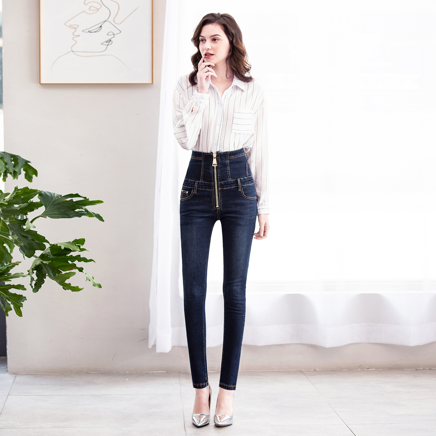 2019 Autumn New Style High-waisted Large Zipper Jeans Black With Thin Look Skinny Pencil Pants Large Size Jeans Women's