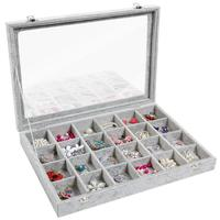 New 24 Grid Jewelry Tray Showcase Display Storage Earring display stand Silver jewelry box