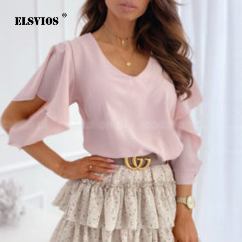Spring Summer Shirt Women Sexy V-neck Butterfly Sleeve Chiffon Blouse 2020 Casual Back Metal Buttoned Women Tops And Blouses 2XL