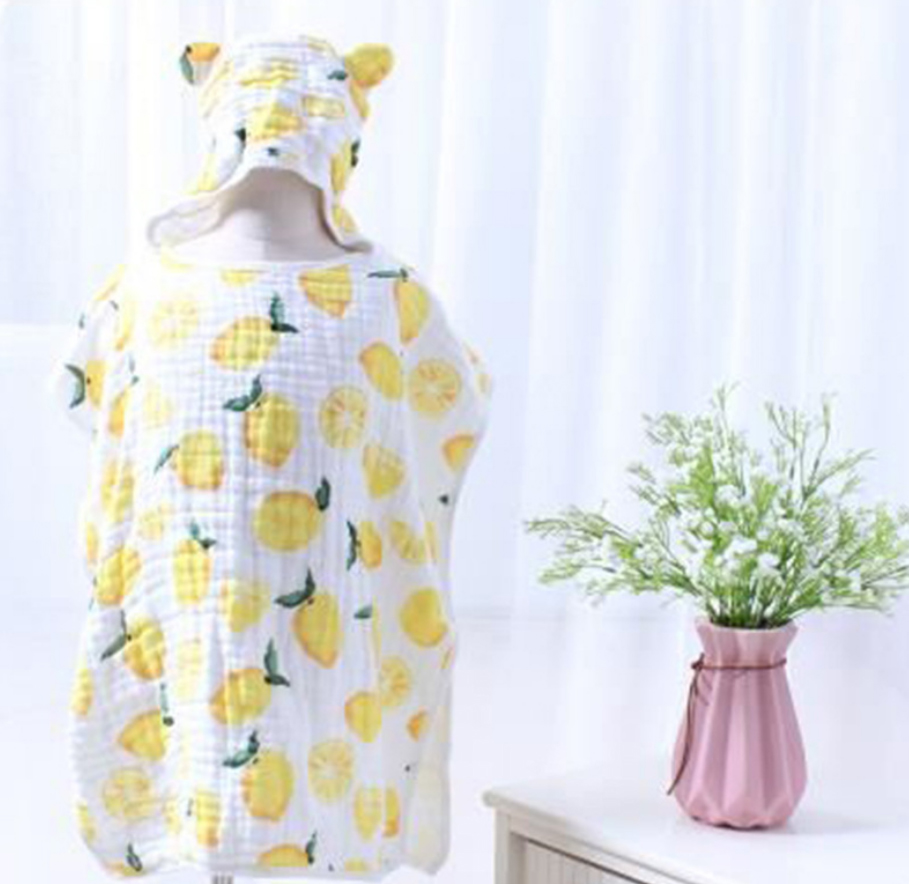 Купить с кэшбэком 6-layer Child Hooded Cloak Ultra-soft Superabsorbent Muslin Gauze Infants Bath Towel Printing Gauze Beach Towel  Baby  Girls Bab