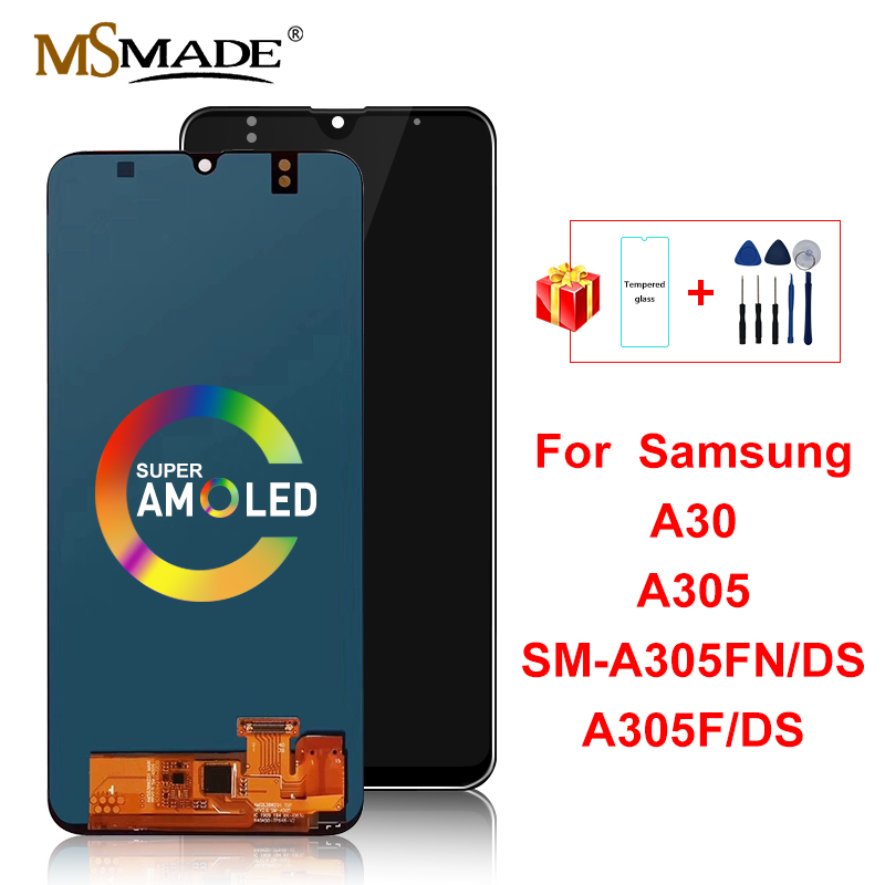 Super amoled lcd for samsung galaxy a30 a305/ds a305f a305fd a305a lcd display touch screen digitizer replacement parts