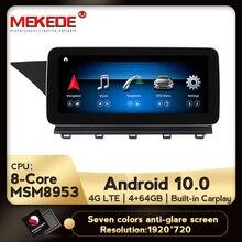 Автомобильный мультимедийный проигрыватель, IPS Android 10,0, 8 ядер, 4 + 64 ГБ, dvd, радио, аудио, GPS навигация для Mercedes Benz GLK Class X204 2008   2015